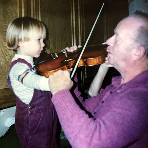 My father, nearly seventy years later, sharing his love of music with his grandson